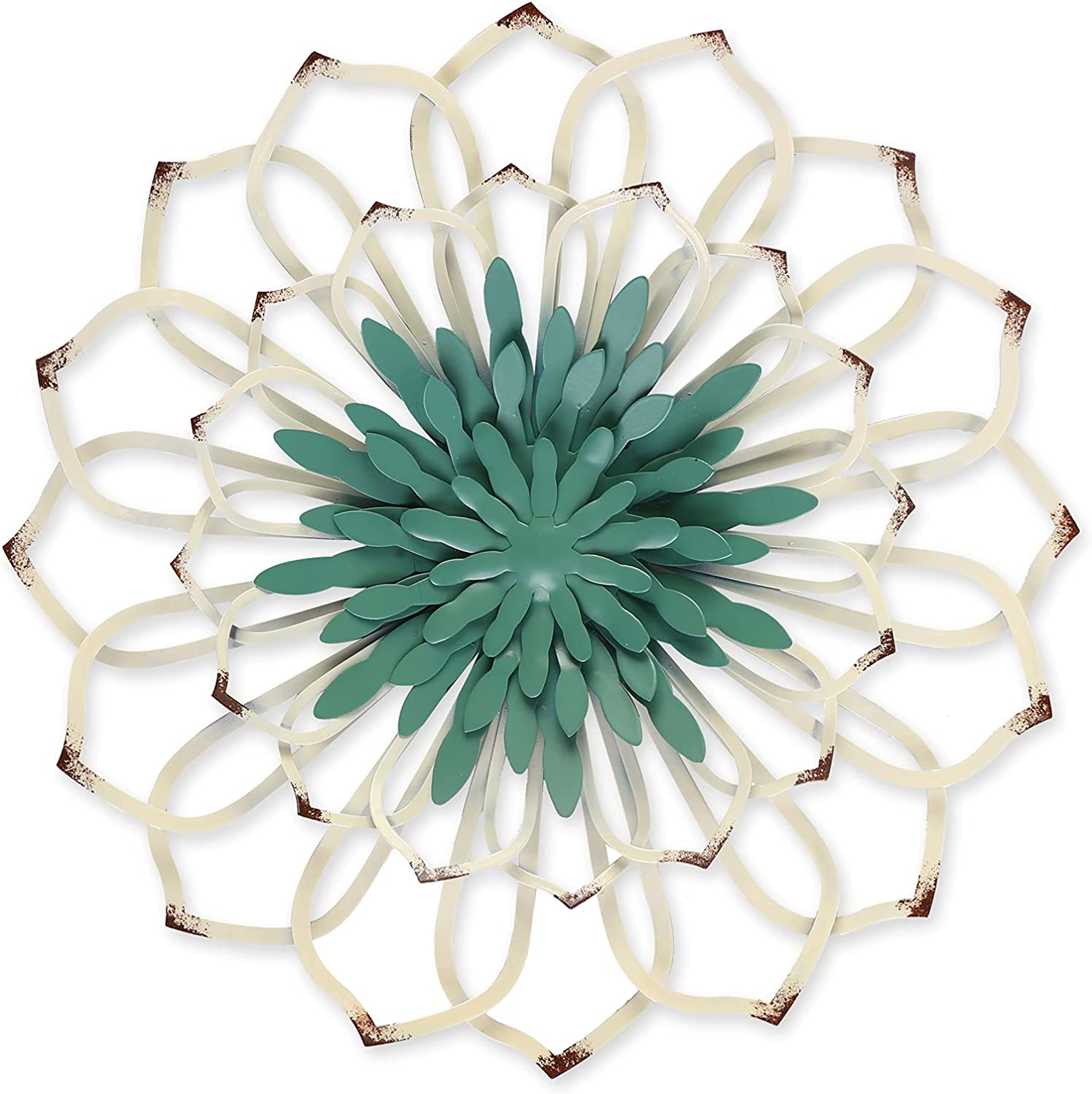 Large Green/White Metal Flower Wall Decor,Hollow Carved,12