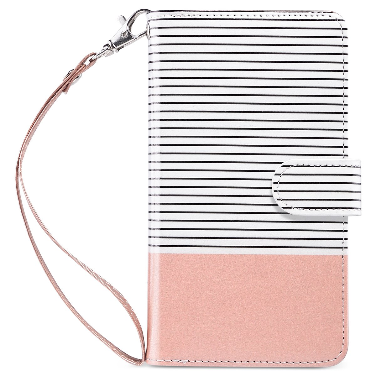 ULAK Flip Wallet Case for iPhone 8 Plus/iPhone 7 Plus, PU Leather Case with Multi Credit Card Holders Pockets Folio Magnetic Closure Cover for Apple iPhone 7 Plus/ 8 Plus, Rose Gold/Minimal Stripes by ULAK
