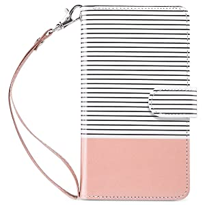 ULAK Flip Wallet Case for iPhone 8 Plus/iPhone 7 Plus, PU Leather Case with Multi Credit Card Holders Pockets Folio Magnetic Closure Cover for Apple iPhone 7 Plus/ 8 Plus, Rose Gold/Minimal Stripes