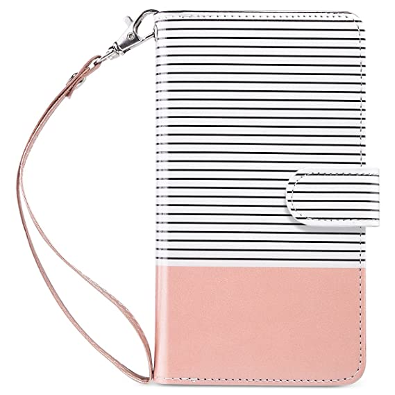 Image result for iPhone 8 Plus Case, iPhone 7 Plus Wallet Case, ULAK PU Leather Flip Folio iPhone 8 Plus Wallet Case with Multi Credit Card Holders Pockets Magnetic Closure Cover-Rose Gold/Minimal Stripes