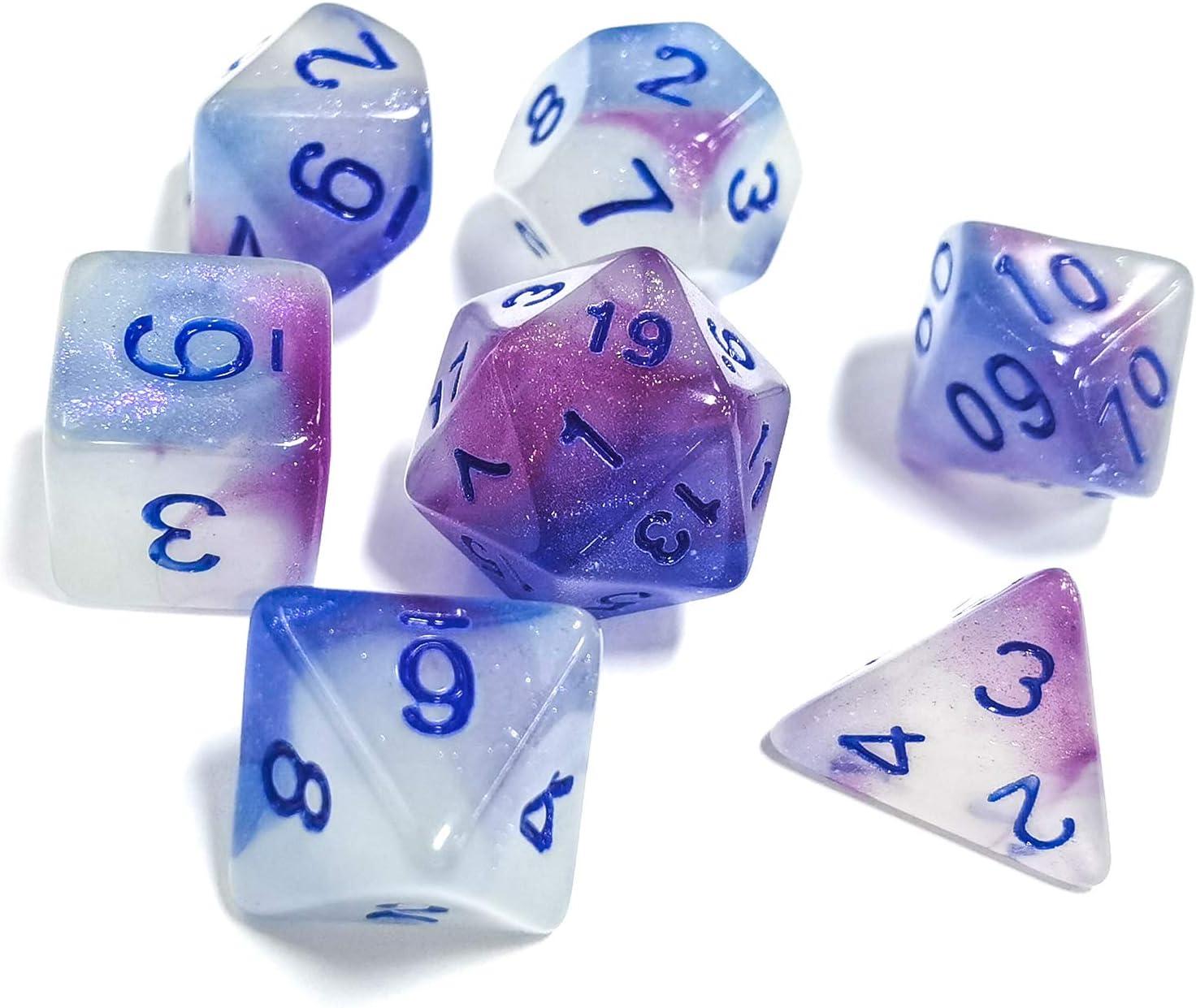 FLASHOWL DND Dice Set Luminoso Poliedrico Dice Set RPG Dice Set d4 d6 d8 d10 d12 d20 d/% per Dungeons e Dragons 7 Pezzi Set di dadi di gioco