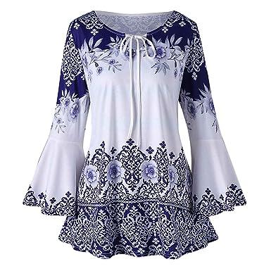 5cb6b6b2db12 NINGSANJIN Oberteile Damen V-Ausschnitt Bluse Übergröße trompetenärmel  T-Shirt Langarm Stretch Große Größen