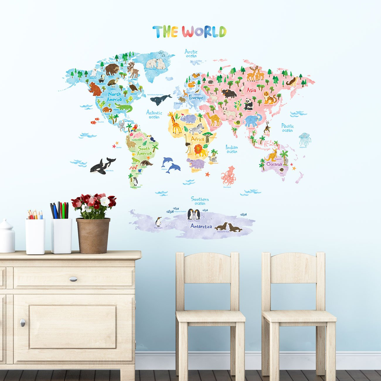 Decowall DMT-1615S Animal World Map Kids Wall Stickers Wall Decals Peel and Stick Removable Wall Stickers for Kids Nursery Bedroom Living Room (Large)