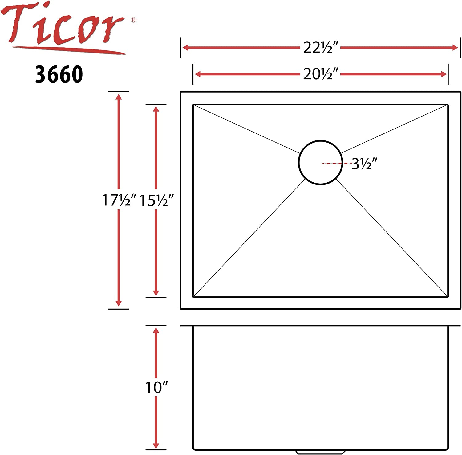 "Ticor 22-1/2"" Undermount 16 Gauge Stainless Steel Square Kitchen Bar Sink Zero Radius 3660BG-BASK"