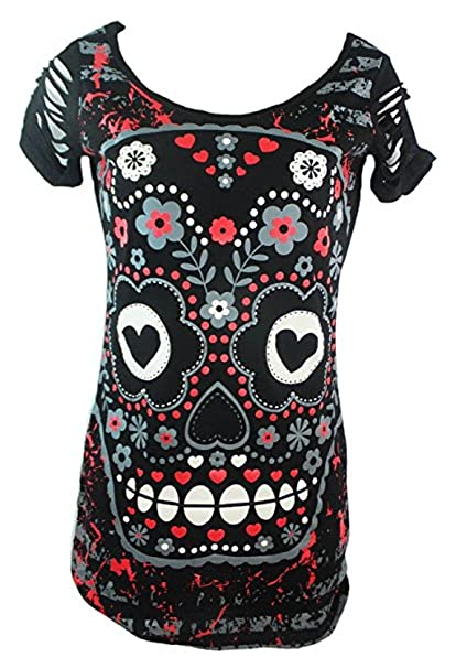 e674b3d25671 Betty-Boutique Women's Banned Gothic Skull Face Themed T-Shirt Size ...