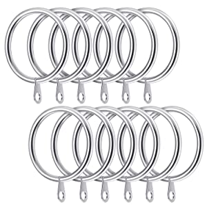 38mm x 12 Black Strong Metal Curtain Rings with eyes Hanging Pole Rod UK SELLER