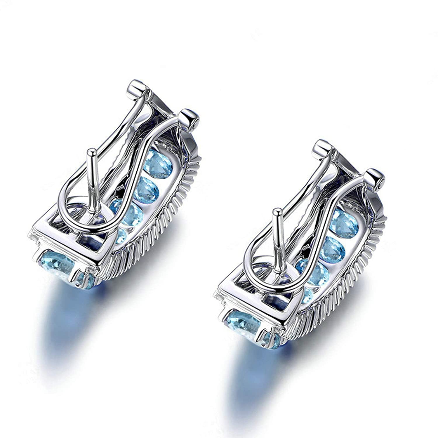 Women Earrings Fashion Earrings 925 Silver Oval Topaz Post with French Clip