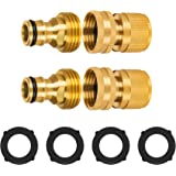MIMIVIVA 3/4 Inch Garden Hose Quick Connect, Quick Connect Hose Fittings Male and Female 2 Sets