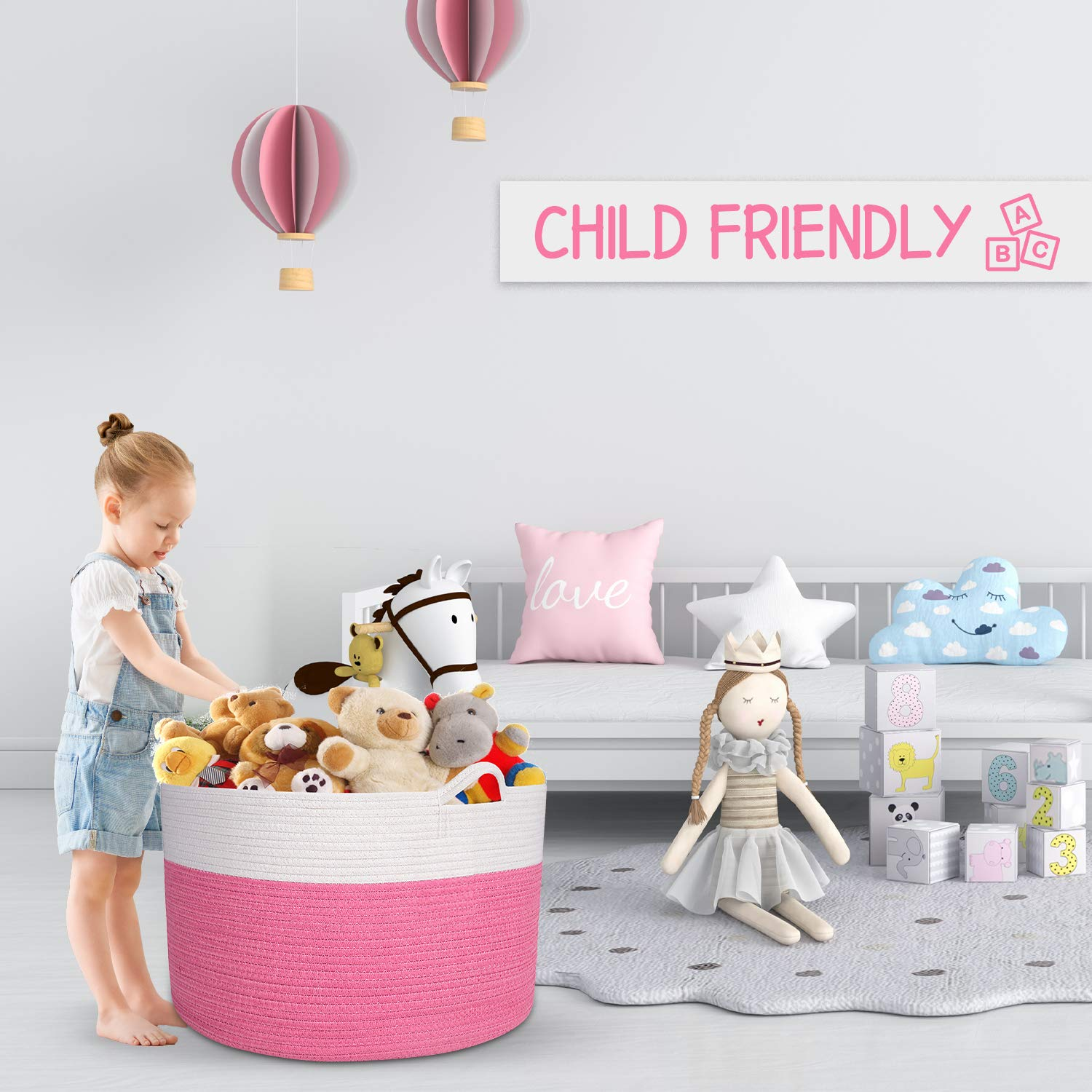 Round Toy Basket with Handles Throws,/Toys Graphite. and Pillows 100/% Natural Cotton HOMECLASS6 XXL/Cotton Rope Blanket Basket Living Room Woven Storage Basket for Blankets 20 x 20 x 13.3 inch