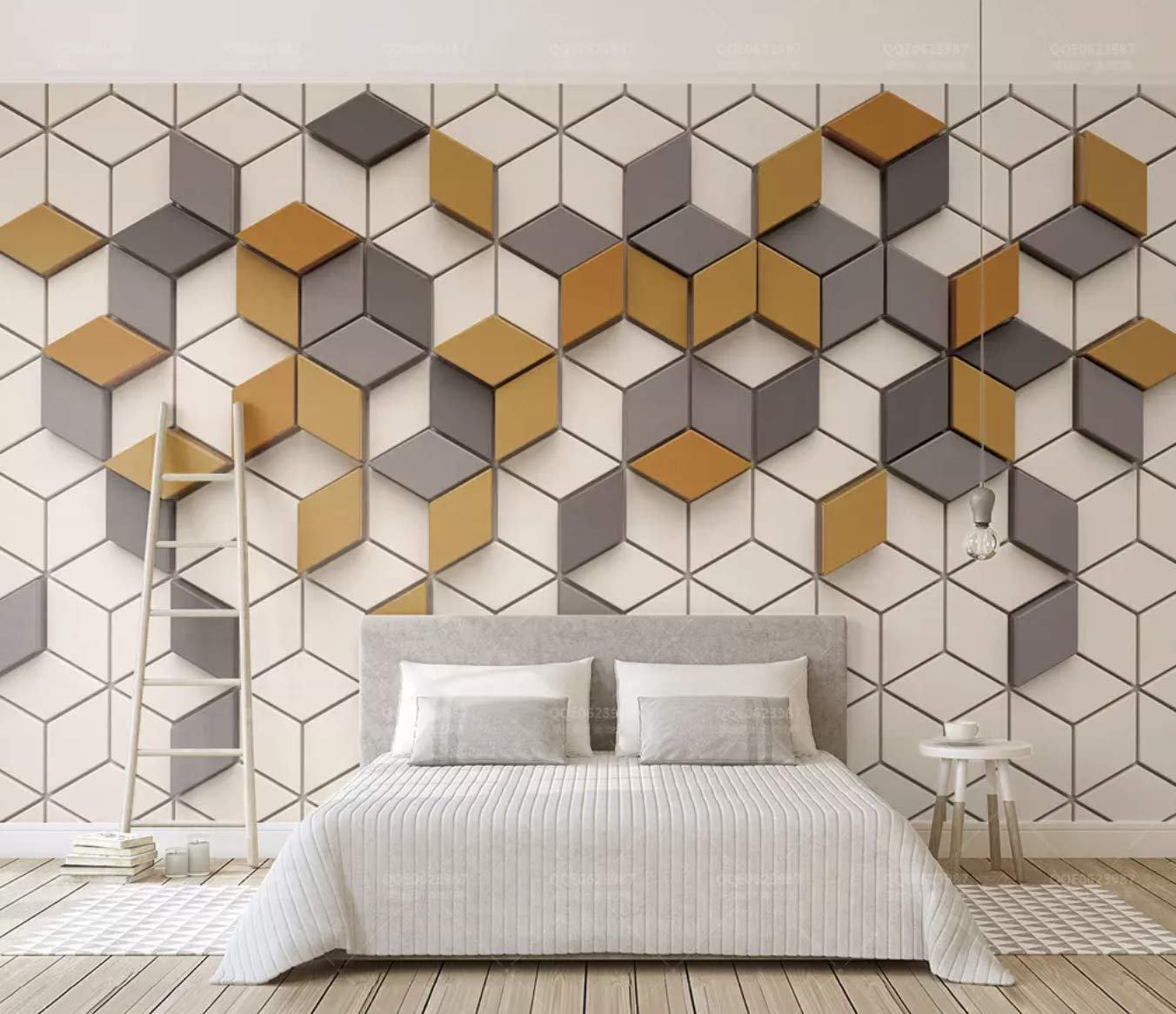 Fantastic Amazon Com Murwall Geometric Wallpaper Yellow Gray Interior Design Ideas Gentotryabchikinfo