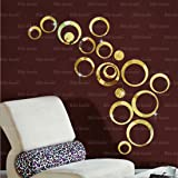 Bikri Kendra - 3D Acrylic Mirror Wall Decor Stickers - For Drawing Room Living Room Bedroom Kids Room Home & Office Sticker (18 Golden Rings)