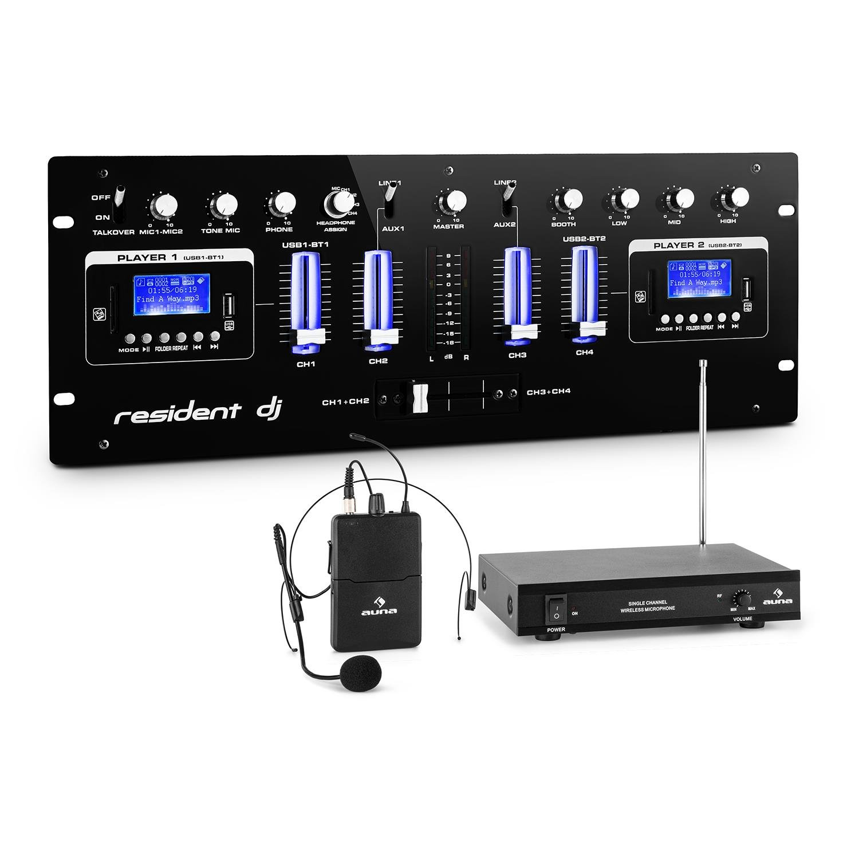 Resident DJ DJ405USB-BK • Set Mixer DJ 4 Canali • 2 interfacce BT • 2 porte USB e SD • Display LCD • 4 Linefader • 1 Crossfader • 1 Radiomicrofono VHF a cono gelato • Antenna telescopica • 50 metri PL-30865-2878