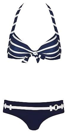 bugatti® marineblau / weiß gestreifter Damen Neckholder-Bikini in Größe 46 D