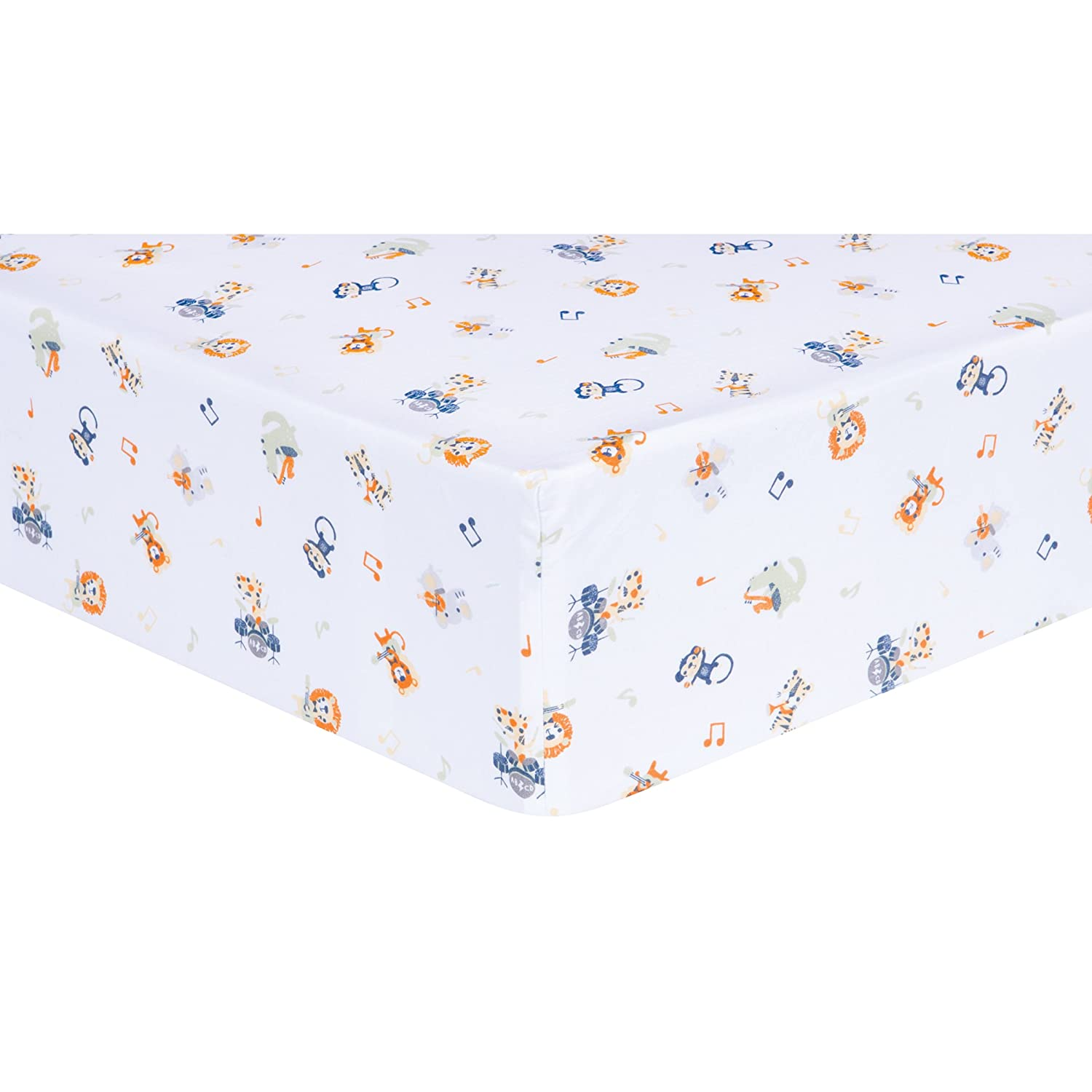 Trend Lab Safari Rock Band Multicolored Animal Fitted Crib Sheet, White 101627