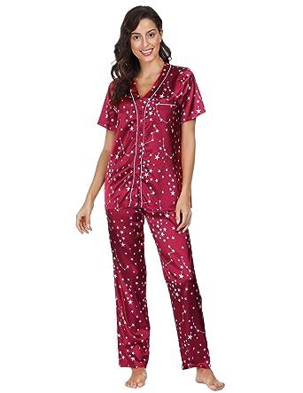 41485bc51 Wine Red Cool Soft Satin Pajama Set Loungewear Short Sleeve Top and Pants M