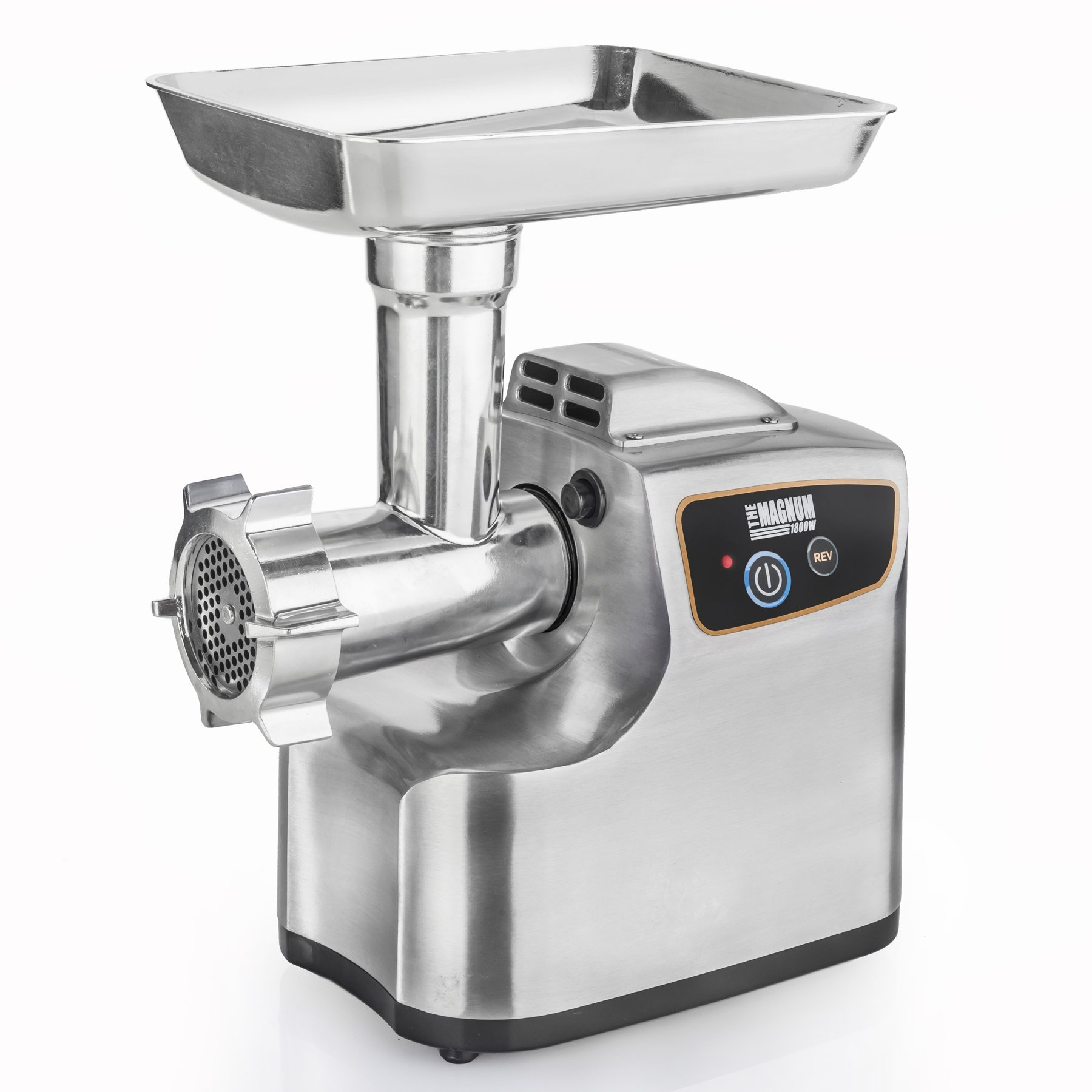STX INTERNATIONAL STX-1800-MG Magnum Patented Air Cooled Electric Meat Grinder and Tomato Juicer with 3 Cutting Blades, 3 Grinding Plates, Kubbe and Sausage Tubes