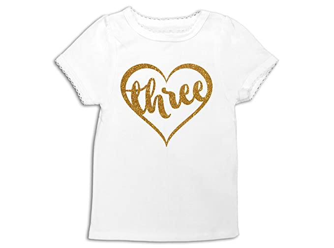 Oliver And Olivia Apparel Girls 3rd Birthday Shirt Three Heart Outfit
