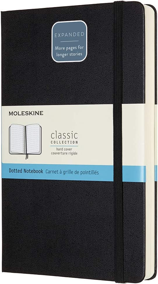 192 Pages Carnet de Notes Classique Papier /à Pages Blanche Taille Grand Format 13 x 21 cm Couleur Noir Moleskine Journal Couverture Souple et Fermeture par Elastique