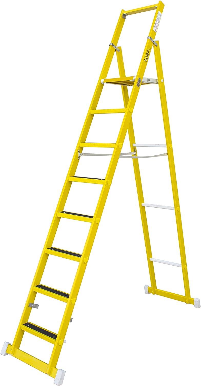 Escalera de tijera aislante con plataforma antideslizante de 31×33 cm, fabricada en fibra de vidrio. Según norma UNE-EN 131 (3 peldaños): Amazon.es: Bricolaje y herramientas