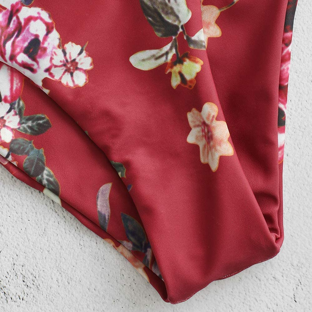 ZAFUL Damen Bikini Set Schulterfrei mit Blumendruck Bandeau Swimsuit Bikini-Set