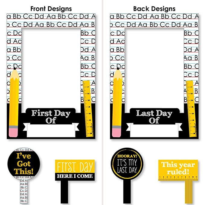 335995d3944e Amazon.com: Black, Yellow and White Back To School - First Day and Last Day  of School Photo Booth Picture Frame & Props - Printed Double-Sided - 1  Frame & 2 ...