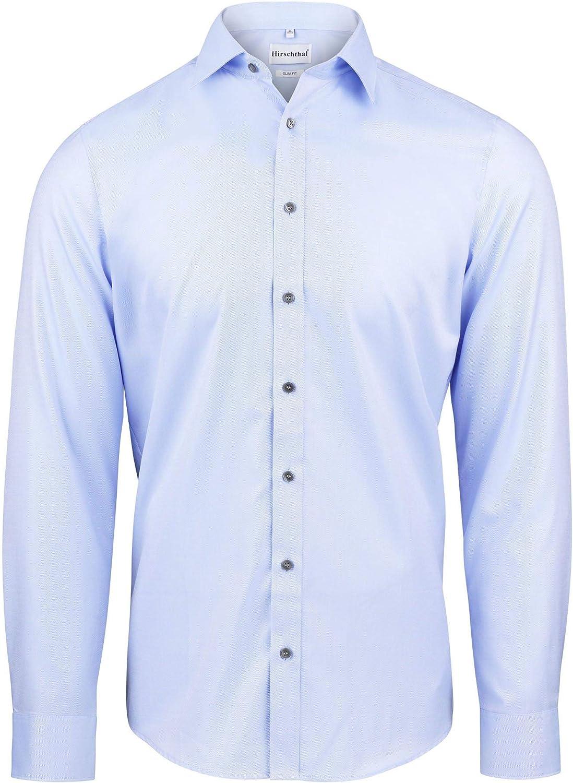 Hirschthal - Camisa para Hombre, Ajustada - Camisa Estrecha con Cuello de Kent - Manga Larga - 100% algodón