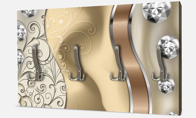 wandmotiv24 Garderobe Elegante Diamanten abstrakt Querformat - 69x40 (BxH) - Leinwand Wandgarderobe M0528