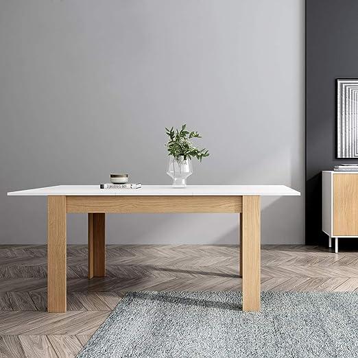 Mc Haus GROTTA - Mesa Comedor Extensible Madera Blanca salón, Mesa Cocina diseño Nórdico y patas de madera Natural 140/190x90x78cm: Amazon.es: Juguetes y juegos