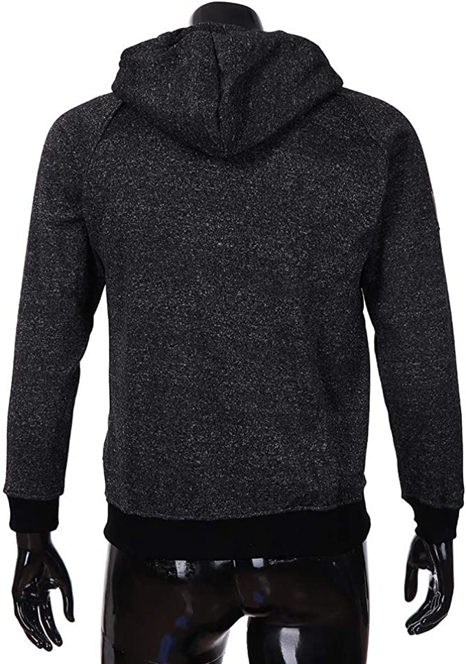 Generic Mens Hip Hop Button Up Pullover Sweatshirt Oversized Loose Solid Hooded Jacket