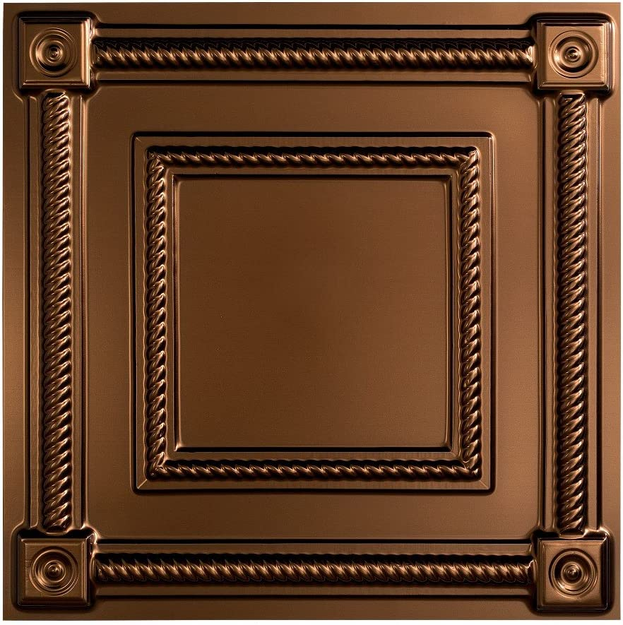 Fasade Easy Installation Coffer Oil-Rubbed Bronze Lay In Ceiling Tile / Ceiling Panel (2' x 2' Tile)