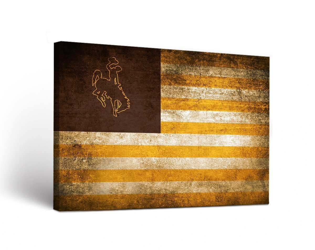 Victory Tailgate Wyoming Cowboys Canvas Wall Art Vintage Flag Design
