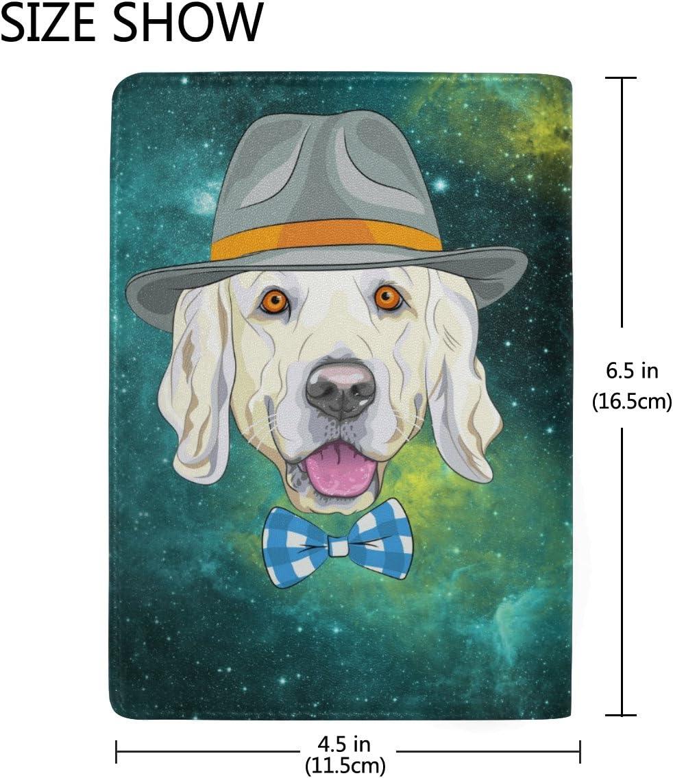 Art Puppy Dog Genuine Leather Passport Holder Wallet Case Cover for Men Women