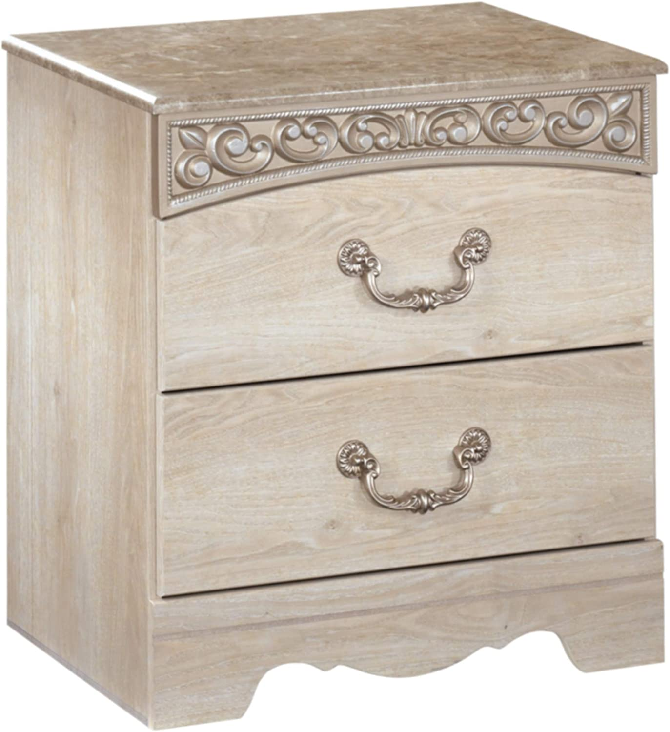 Ashley Furniture Signature Design – Catalina Nightstand – 2 Drawers – Traditional – Replicated Chestnut Grain – Antique White
