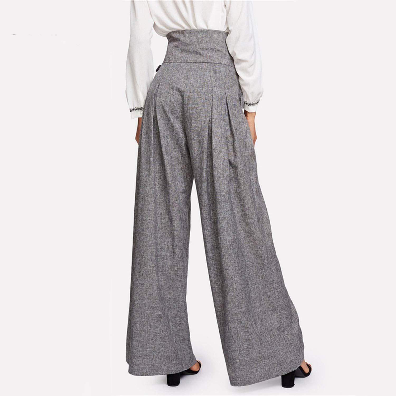 a5b5be6c8b5 Love   Freedome Wide Leg Pants Women Zipper Fly Loose Trousers Women 2019  Grey High Waist Self Belted Box Pleated Palazzo Pants