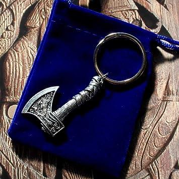 SWoRL Llavero de Doble Cara Vikingo Rune Raven Wolf con ...