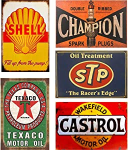 FlowerBeads Retro Tin Signs Vintage Signs Auto Motorcycle Gasoline Garage Home Wall Decoration Metal Plaques - 5PCS 20X30Cm