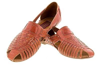 9b0b9f0c18e2 Cowboy Professional Women s 771 Rustic Cognac Leather Boho Slip On Mexican  Huaraches Closed Toe 5
