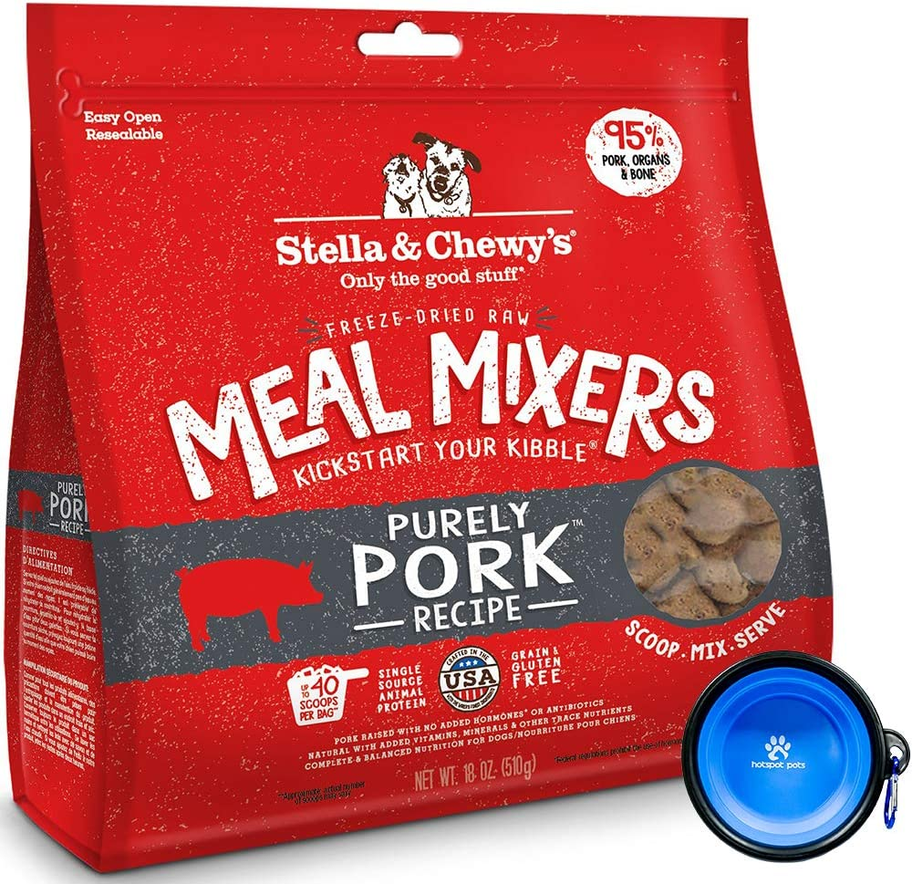 Stella & Chewy's Freeze Dried Dog Food,Snacks Super Meal Mixers 18-Ounce Bag, Bundle Pack with Hotspot Pets Food Bowl (Purely Pork)