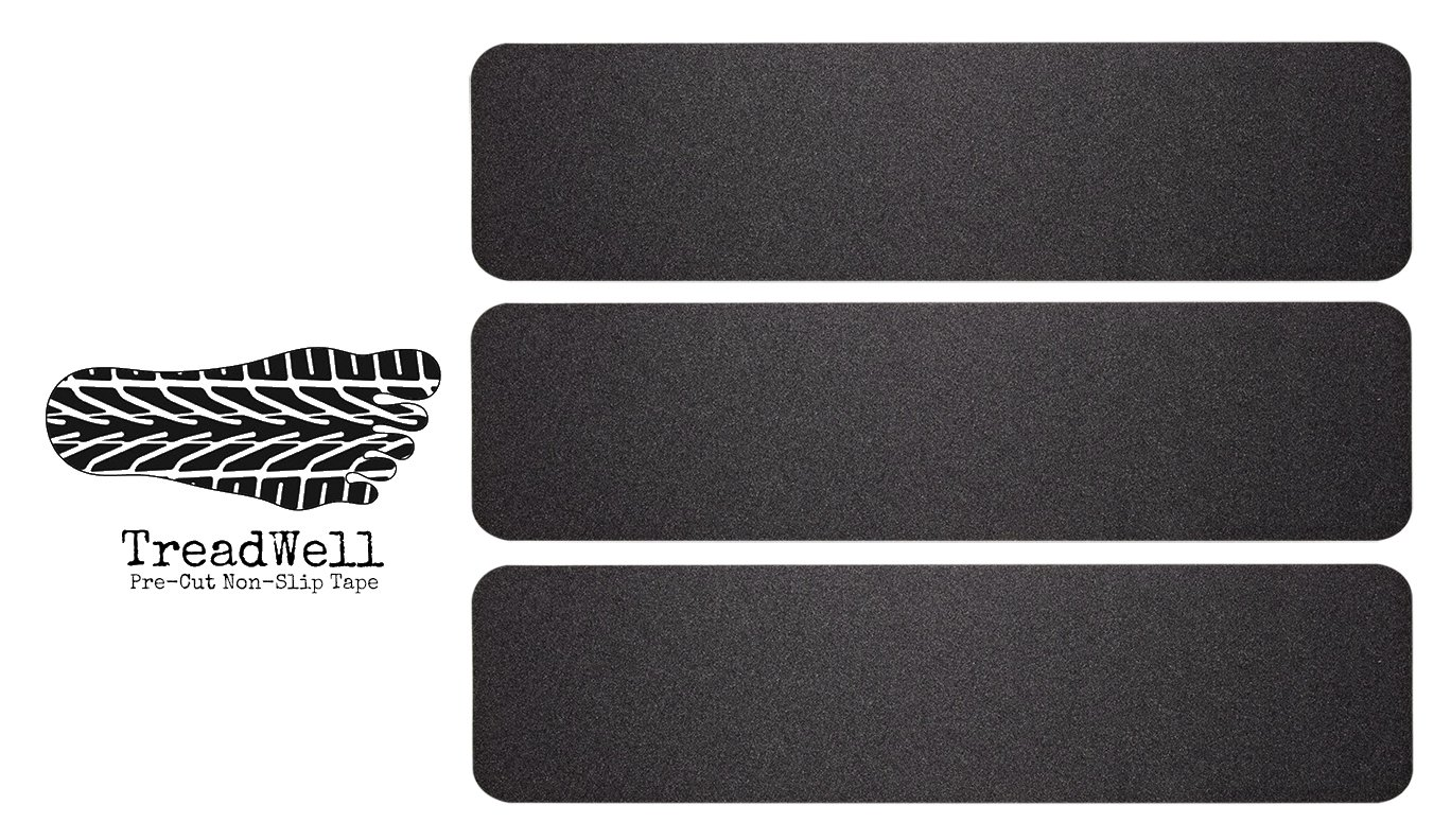 Treadwell High Traction Adhesive Non Slip Stair Treads. Pre-Cut Safety Tape/Tread Prevents Slips and Falls. 3-Pack (Large 6 Inch x 24 Inch, Black)