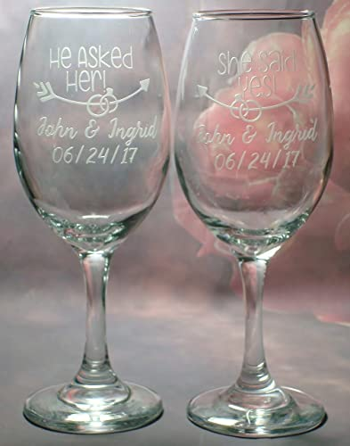 engagement engaged wine glass gift set he asked her she said yes proposal set