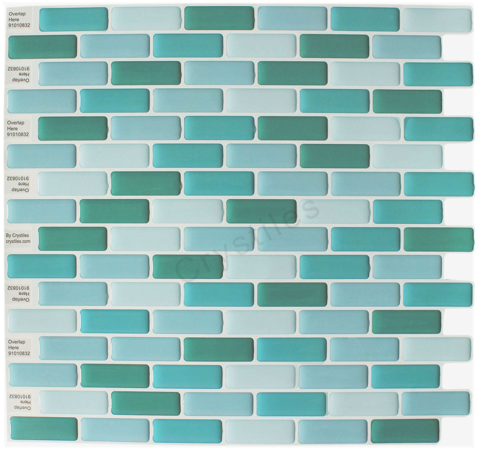 Crystiles Peel and Stick Self-Adhesive DIY Backsplash Stick-on Vinyl Wall Tiles for Kitchen and Bathroom Décor Projects, Item# 91010832, 10'' X 10'' Each, 6 Sheets Pack