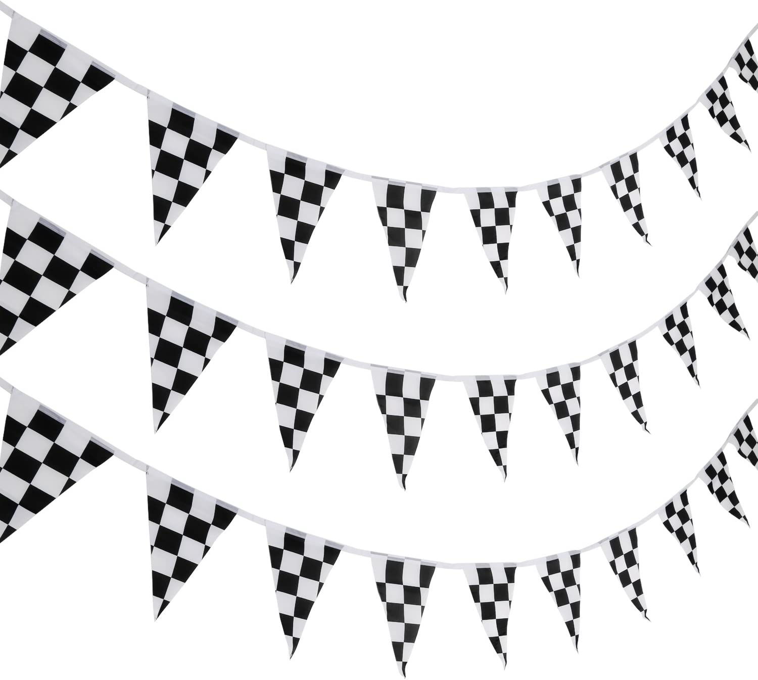 Pangda 10 Meters Checkered Black and White Pennant Banner Flags Racing Party Banner Decorations for Race Car Party Sport Events