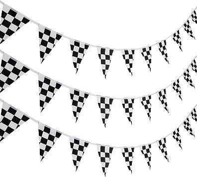 10 Metros de Pancarta de Banderines a Cuadros Bandera de Carreras Bandera de Fiesta Accesorios para Decoración de Fiesta de Cumpleaños de Tema de Carrera: Amazon.es: Juguetes y juegos