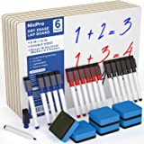 Nicpro 6 Pack Lapboard Small Dry Erase Lap Board 9 x 12 inches Double Sided with 18 Water-Based Pens and 6 Erasers…