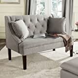 Safavieh Home Collection Zoey Light Beige and Espresso Velvet Settee