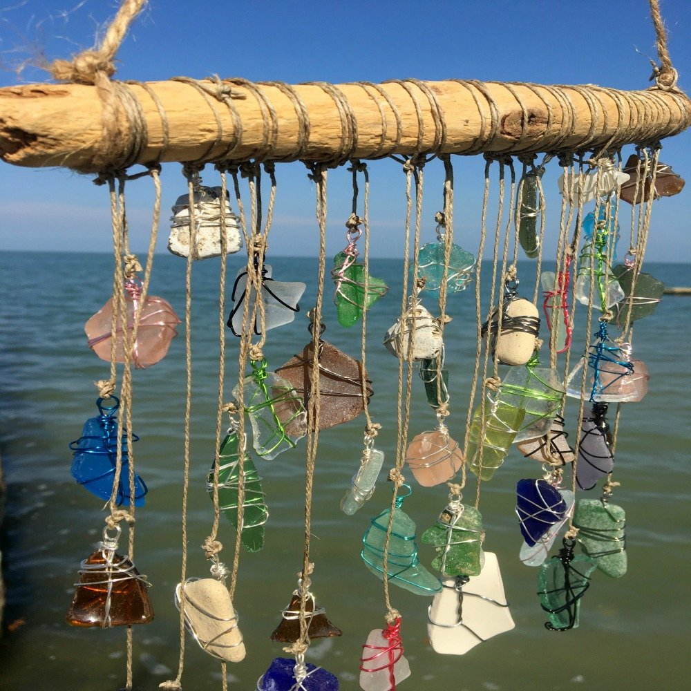 BohoBeach Glass Sun Catcher Eco Friendly Art Whimsical Driftwood Beach Wedding Swap Party Gift by Pier Beach Glass (Image #6)