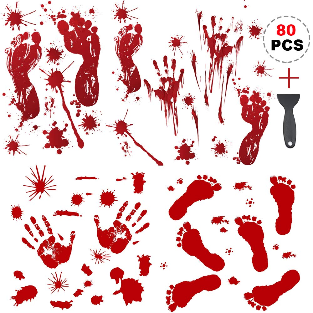 Raise Halloween Decorations Stickers,Horror Bloody Handprints&Bloody Footprints Stickers Halloween Decor Vampire Zombie Party Decals (80 Pcs) with Plastic Scraper