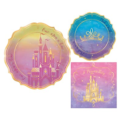 Once Upon A Time Disney Princess Themed Party Supplies: Bundle Include Paper Plates and Napkins for 16 People: Health & Personal Care