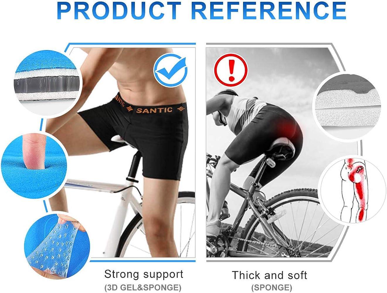 Santic Cycling Underwear 3D Padded Bike Underpants Bicycle Gel Shorts for Men Women Black: Clothing