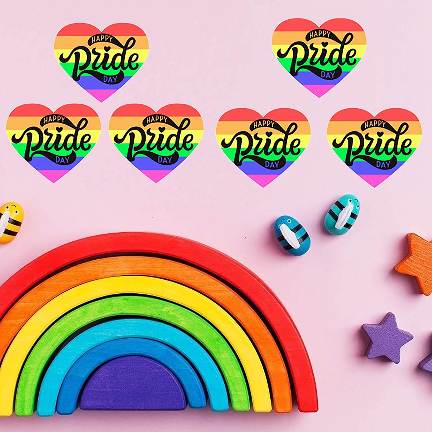 Support LGBT Causes Vanproo 500 Pieces Gay Pride Rainbow Stickers Happy Pride Day Heart Shaped Pride Rainbow Stickers on a Roll